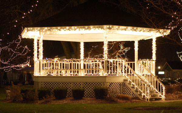 Home Holiday Light Install Gazebo